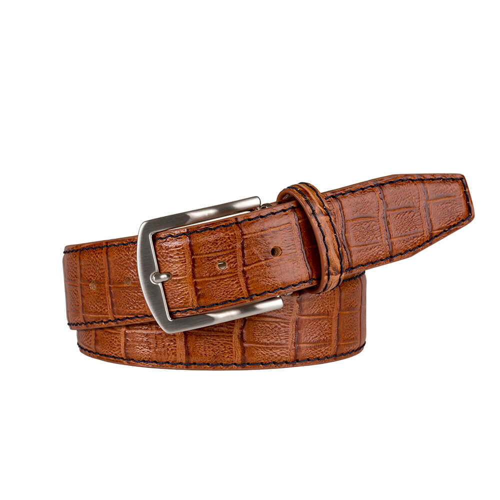 Saddle Mock Caiman Belt - Navy / 44 / 35mm | Mens Fashion & Leather Goods by Roger Ximenez
