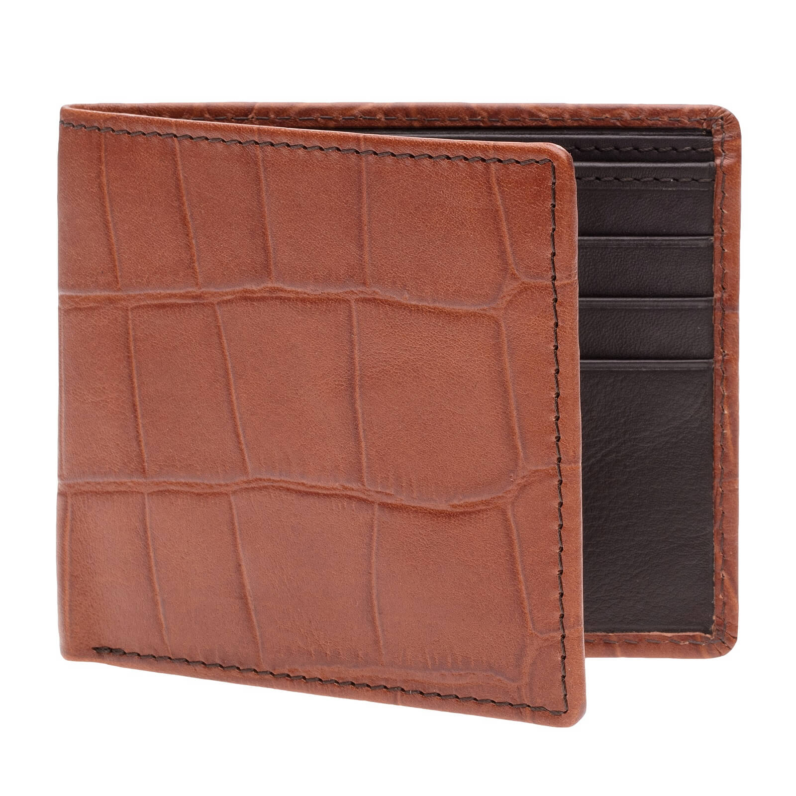 Scotch Mock Gator Vegetable Tan Leather Wallet - Brown / Brown / One Size | Mens Fashion & Leather Goods by Roger Ximenez