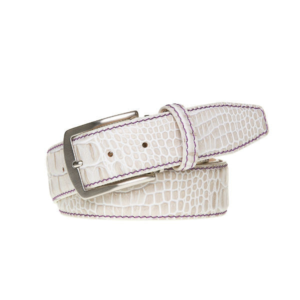 Snow Mock Croc Leather Belt - Purple / 44 / 35mm | Mens Fashion & Leather Goods by Roger Ximenez