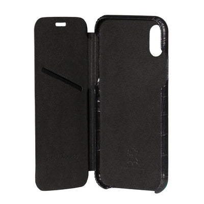 Black Mock Gator iPhone Xs Case - [variant_title] | Mens Fashion & Leather Goods by Roger Ximenez
