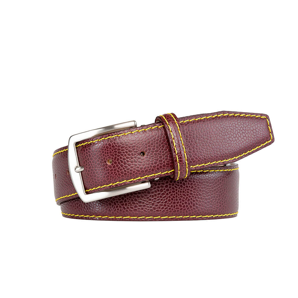 Burgundy French Pebble Grain Belt - Bamboo / 44 / 35mm | Mens Fashion & Leather Goods by Roger Ximenez