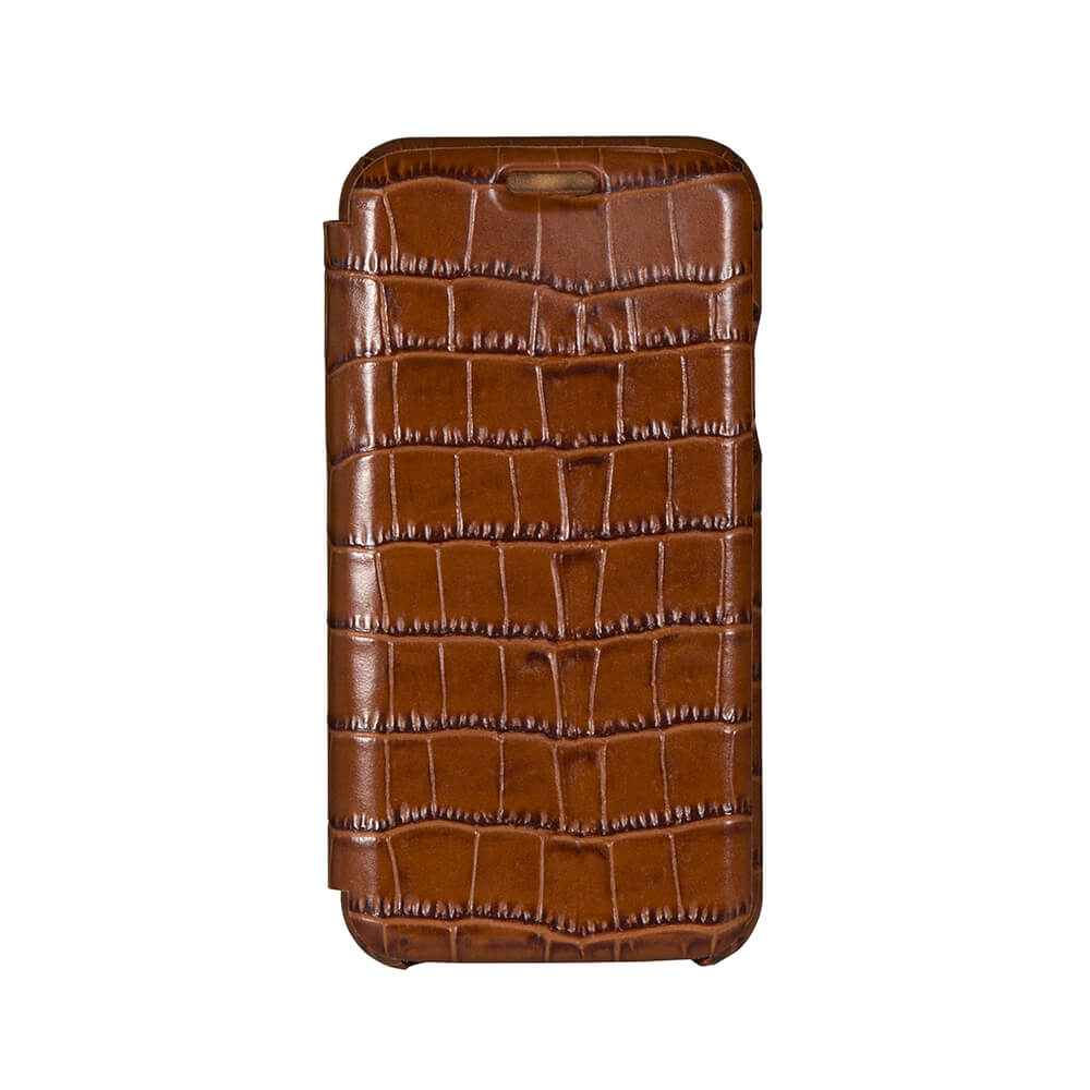 Cognac Mock Gator iPhone Xs Case - Men's Designer Belts - RogerXimenez.com