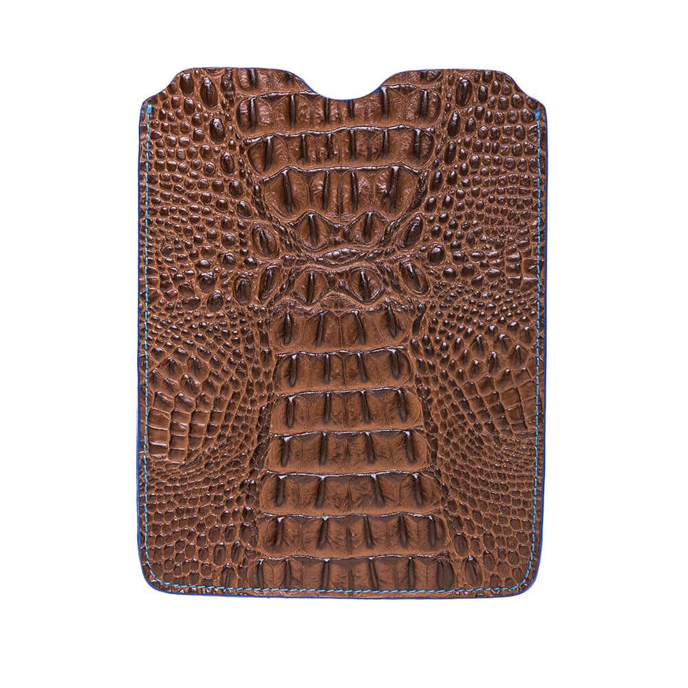 Brown Mock Croc iPad Leather Sleeve