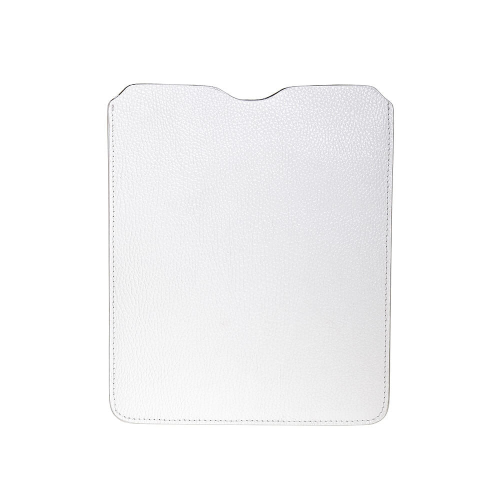 White Italian iPad Leather Sleeve