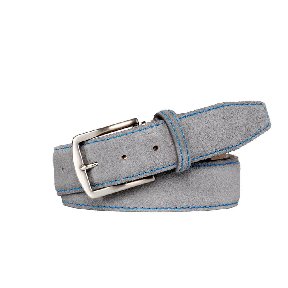 Gray Suede Leather Belt
