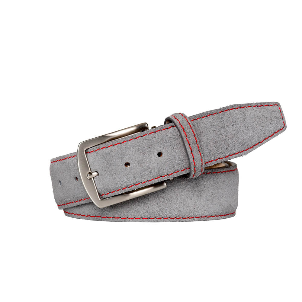 Gray Suede Leather Belt - Red / 44 / 35mm | Mens Fashion & Leather Goods by Roger Ximenez