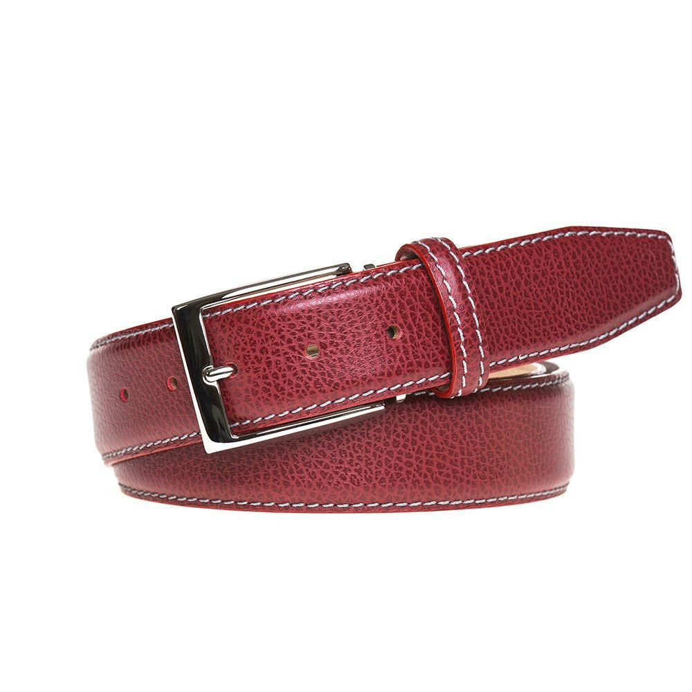 Ohio Leather Belt - Pebble Grain / 44 / Red | Mens Fashion & Leather Goods by Roger Ximenez