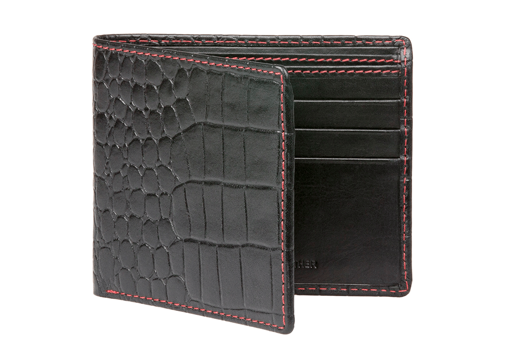 Black Mock Gator Leather Wallet - Red / Black / One Size | Mens Fashion & Leather Goods by Roger Ximenez