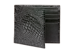 Black Mock Croc Leather Wallet