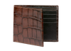 Chestnut Brown Mock Croc Leather Wallet - Men's Designer Belts - RogerXimenez.com