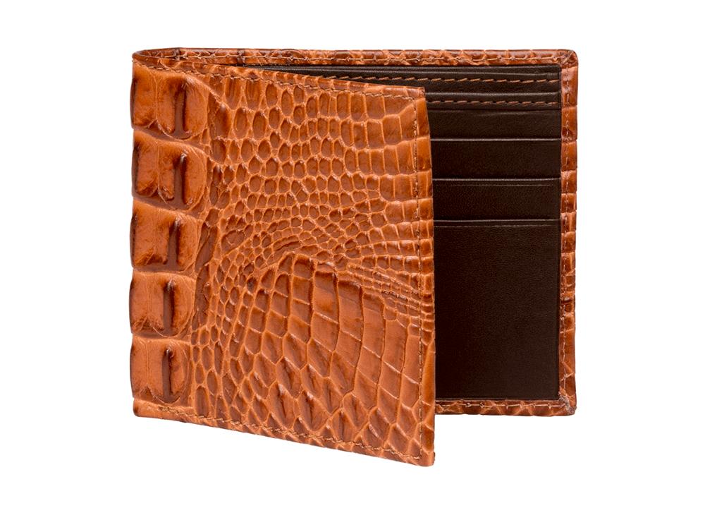 Cognac Mock Croc Leather Wallet - RogerXimenez.com