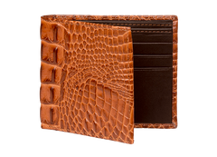Cognac Mock Croc Leather Wallet