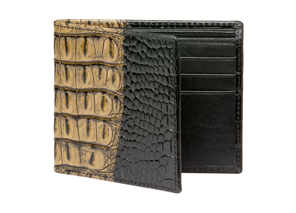 Olive Vintage Mock Croc Leather Wallet - RogerXimenez.com