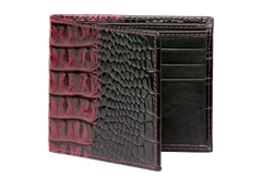Wine Vintage Mock Croc Leather Wallet