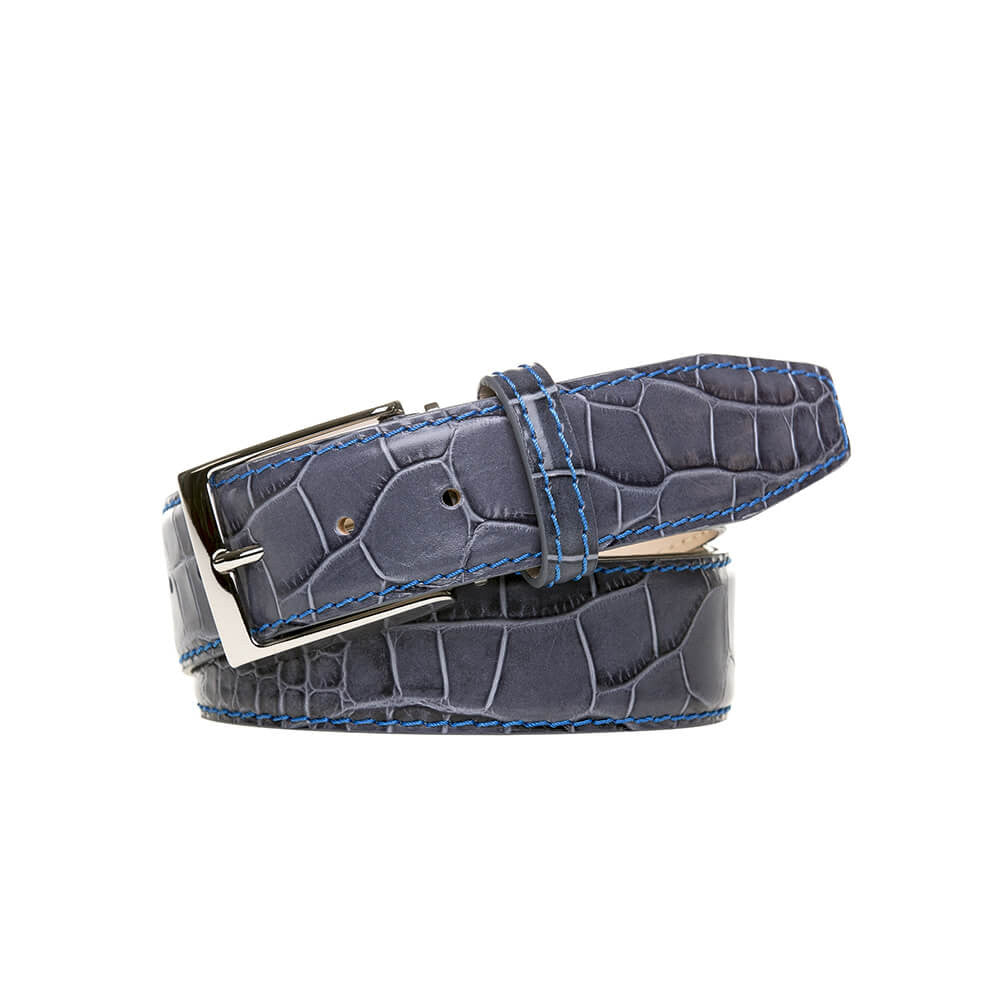 Special Edition Gray Mock Gator Leather Belt - Cobalt / 44 / 35mm | Mens Fashion & Leather Goods by Roger Ximenez