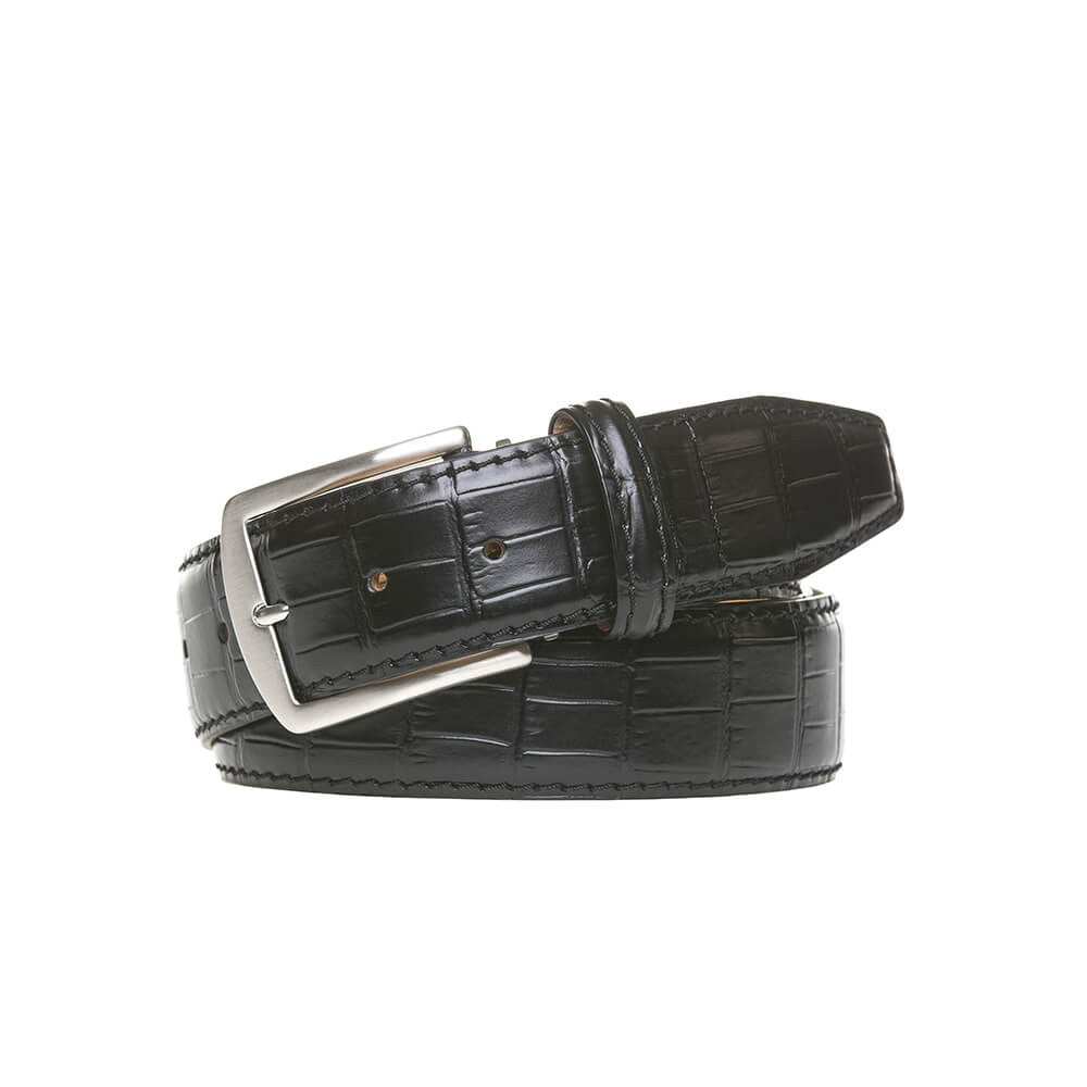 Black Mock Gator Leather Belt - Black / 44 / 40mm | Mens Fashion & Leather Goods by Roger Ximenez