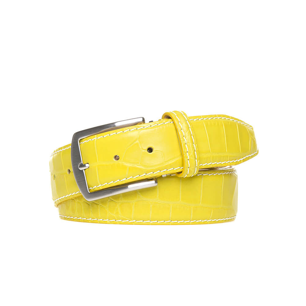 Yellow Mock Gator Leather Belt - White / 44 / 35mm | Mens Fashion & Leather Goods by Roger Ximenez
