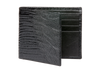 Black Mock Lizard Leather Wallet - Men's Designer Belts - RogerXimenez.com