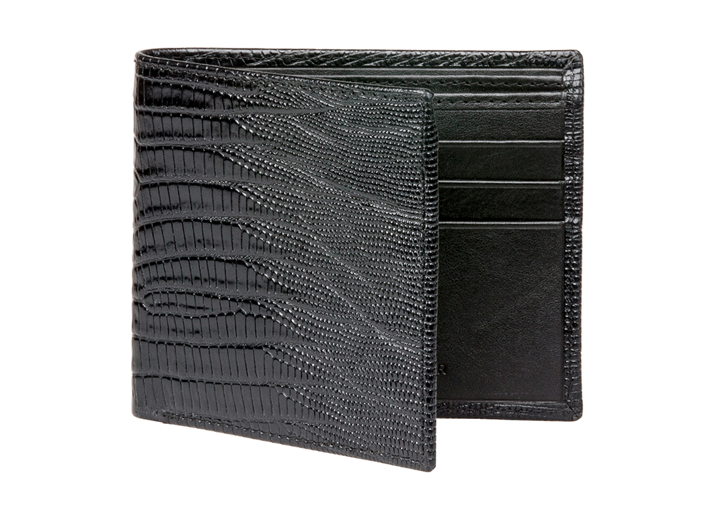 Black Mock Lizard Leather Wallet - RogerXimenez.com