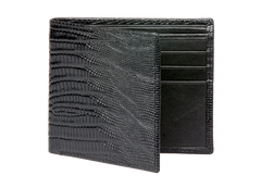 Black Mock Lizard Leather Wallet