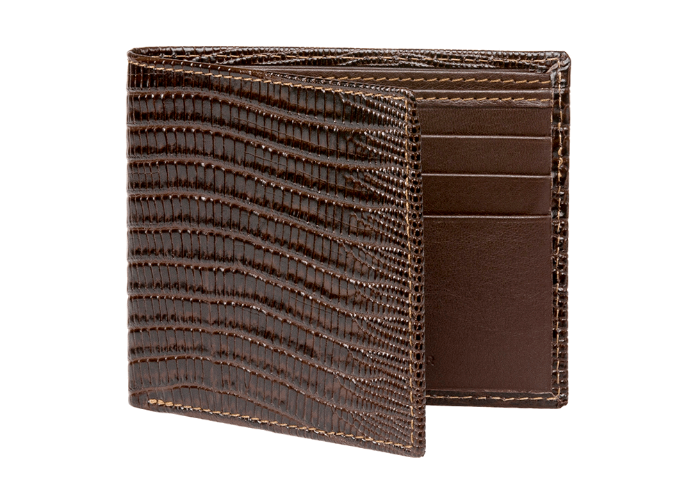 Brown Mock Lizard Leather Wallet - Men's Designer Belts - RogerXimenez.com