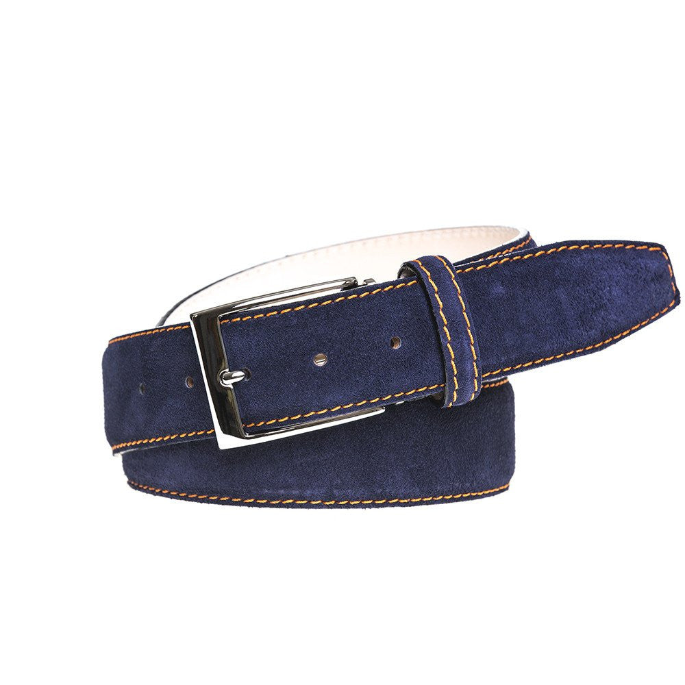 Auburn Leather Belt - Suede / 44 / Navy | Mens Fashion & Leather Goods by Roger Ximenez