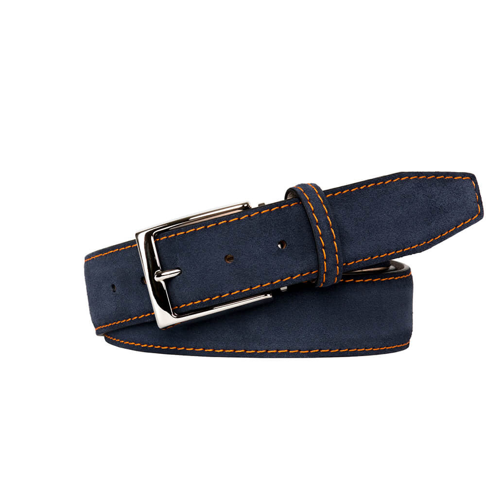 Navy Suede Leather Belt - Orange / 44 / 35mm | Mens Fashion & Leather Goods by Roger Ximenez