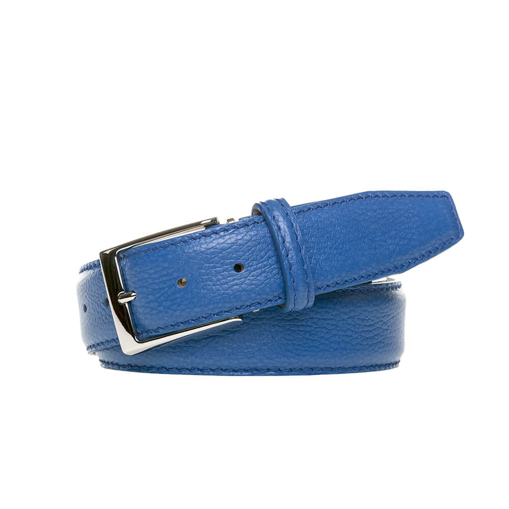 Blue Italian Pebble Grain Belt - Men's Designer Belts - RogerXimenez.com