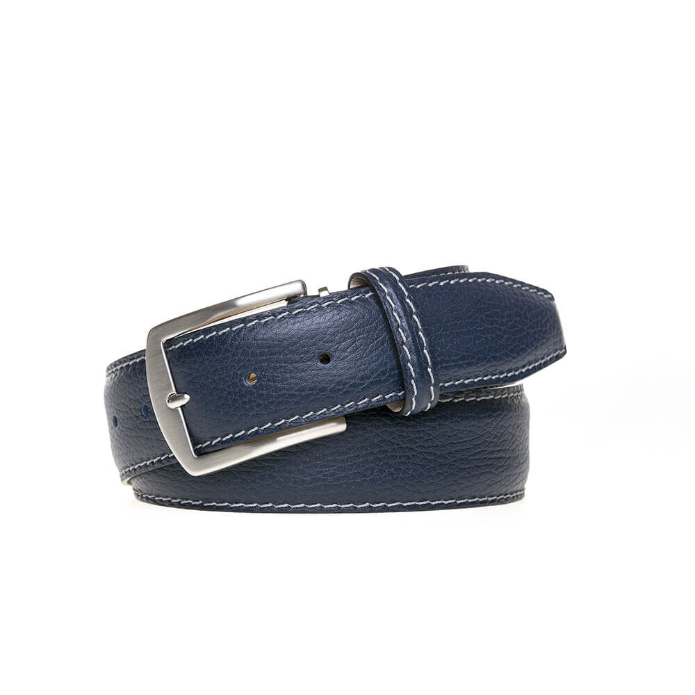 Navy Italian Pebble Grain Belt - Gray / 44 / 35mm | Mens Fashion & Leather Goods by Roger Ximenez