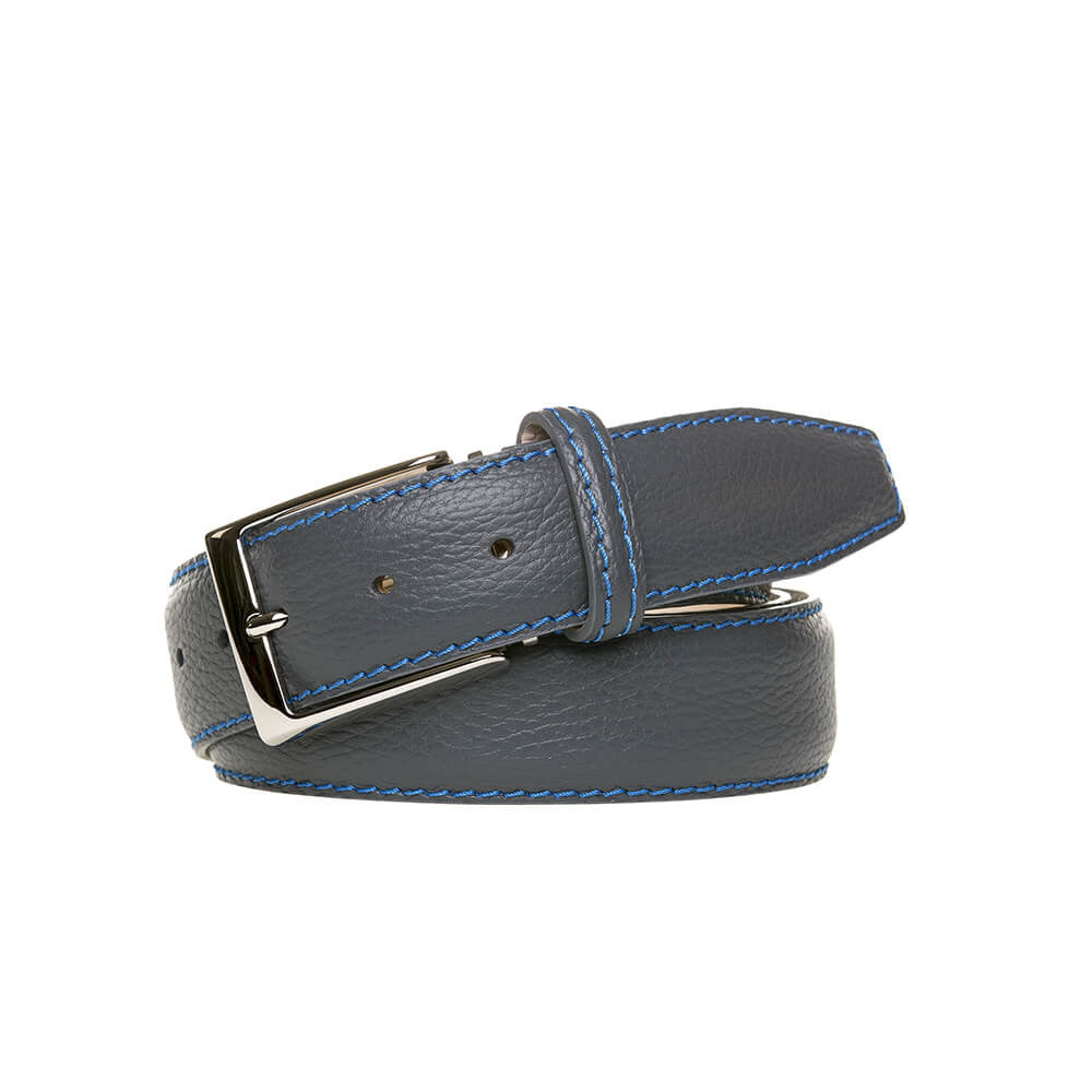 Slate Italian Pebble Grain Belt - Men's Designer Belts - RogerXimenez.com
