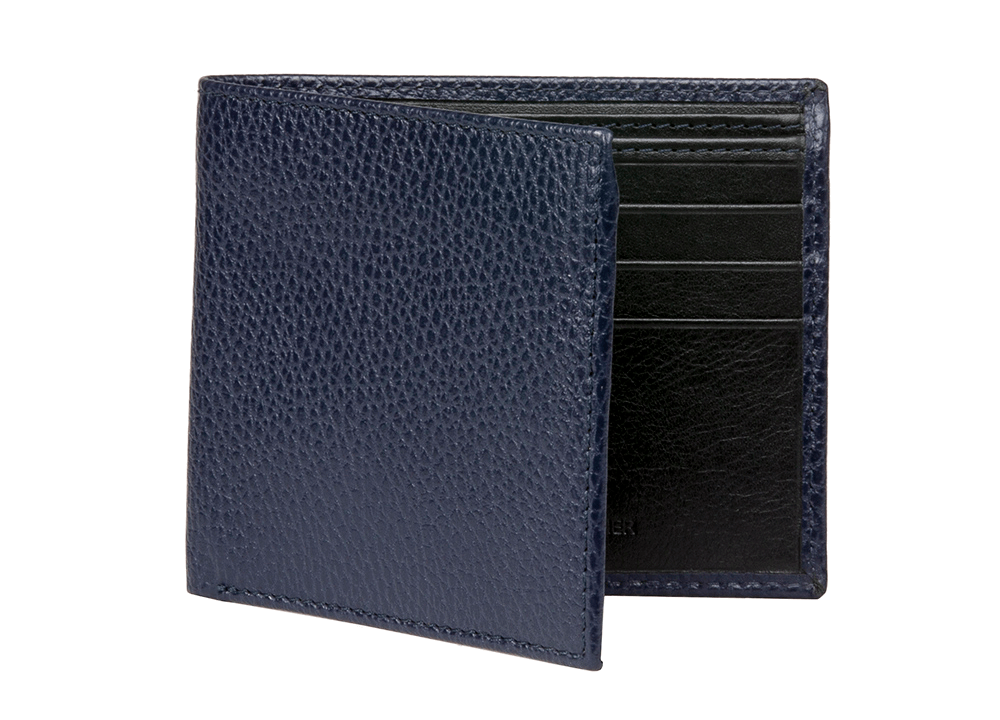 Navy Pebble Grain Leather Wallet - RogerXimenez.com