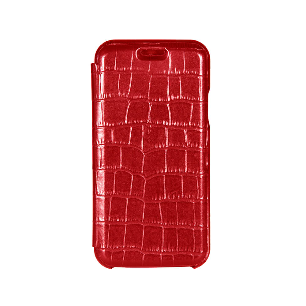 Red Mock Gator iPhone Xs Case - Men's Designer Belts - RogerXimenez.com