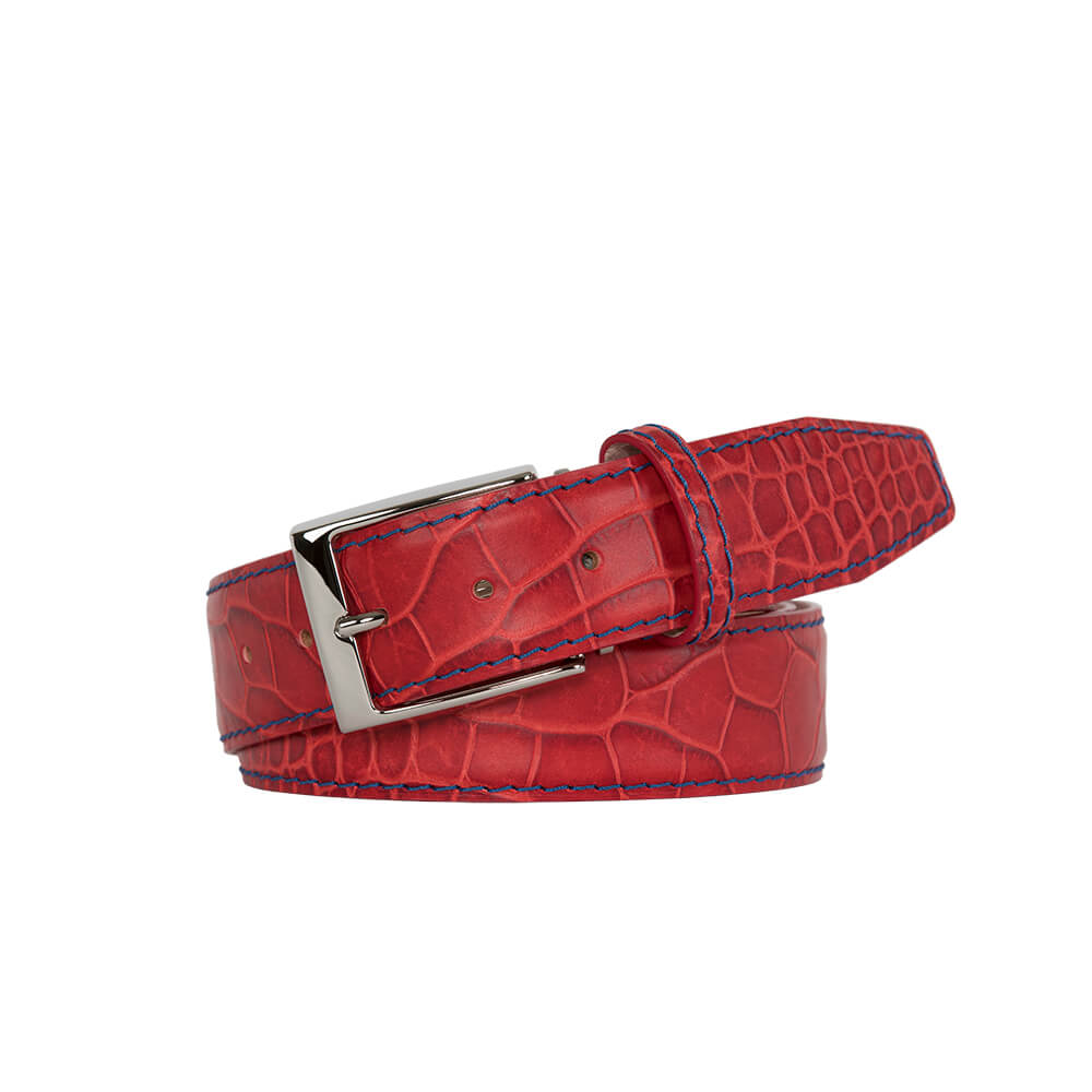 Red Lipstick Mock Croc Leather Belt - Blue / 44 / 40mm | Mens Fashion & Leather Goods by Roger Ximenez
