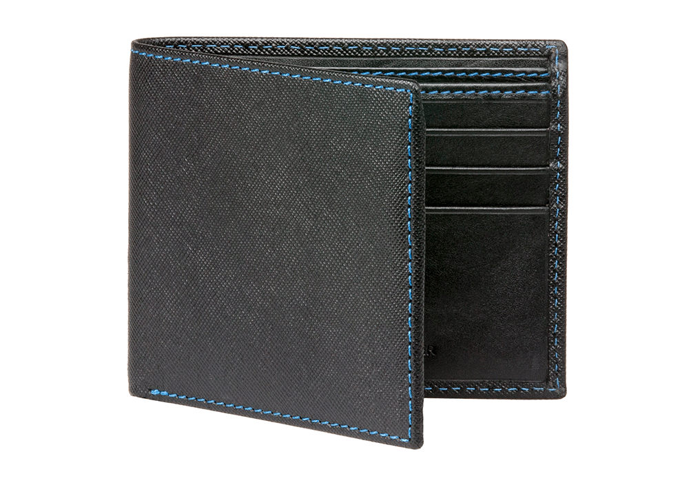 Black Saffiano Leather Wallet - Cobalt / One Size / Black | Mens Fashion & Leather Goods by Roger Ximenez