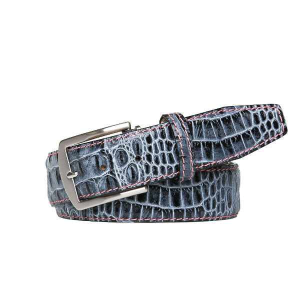 Shadow Mock Croc Leather Belt - Pink / 44 / 35mm | Mens Fashion & Leather Goods by Roger Ximenez