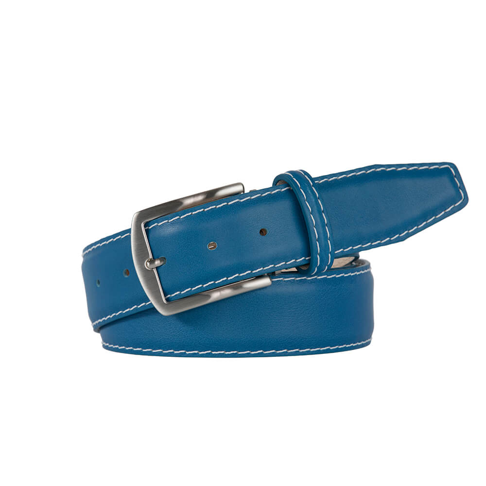 Sky Blue Smooth Italian Calf Leather Belt - White / 44 / 35mm | Mens Fashion & Leather Goods by Roger Ximenez