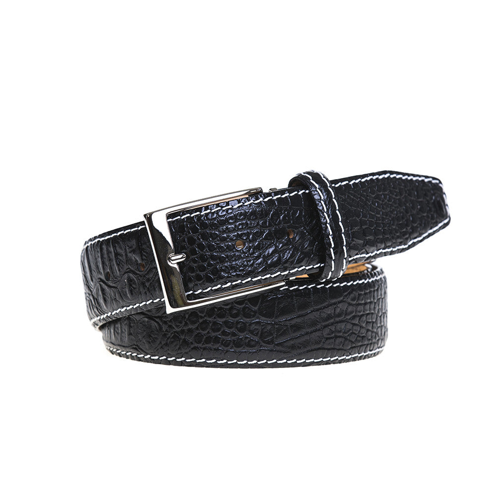 Black Mock Croc Leather Belt - White / 44 / 35mm | Mens Fashion & Leather Goods by Roger Ximenez