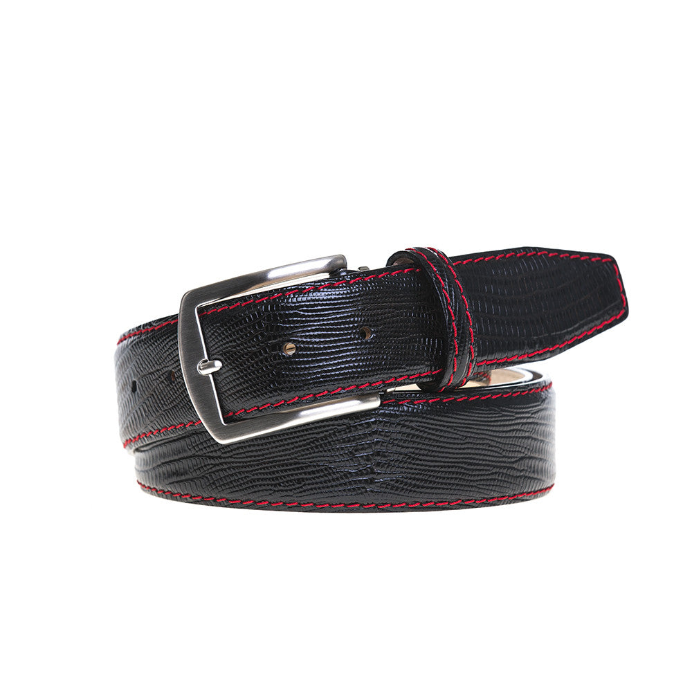 Black Mock Lizard Belt - Red / 44 / 35mm | Mens Fashion & Leather Goods by Roger Ximenez