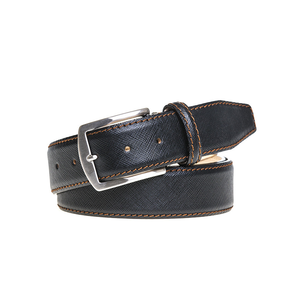 Black Saffiano Leather Belt - Cognac / 44 / 35mm | Mens Fashion & Leather Goods by Roger Ximenez