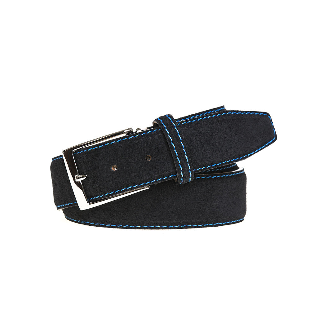 Black Suede Leather Belt - Cobalt / 44 / 35mm | Mens Fashion & Leather Goods by Roger Ximenez