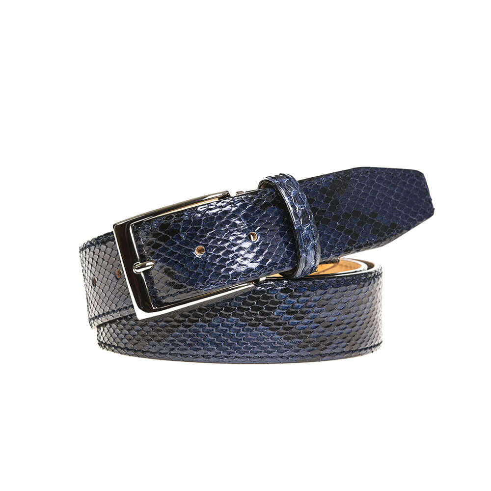 Navy Blue Python Belt - Men's Designer Belts - RogerXimenez.com