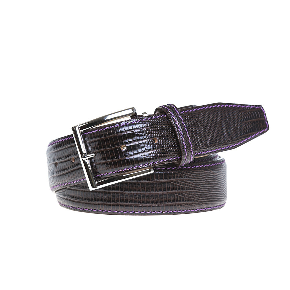 Brown Mock Lizard Belt - Purple / 44 / 35mm | Mens Fashion & Leather Goods by Roger Ximenez