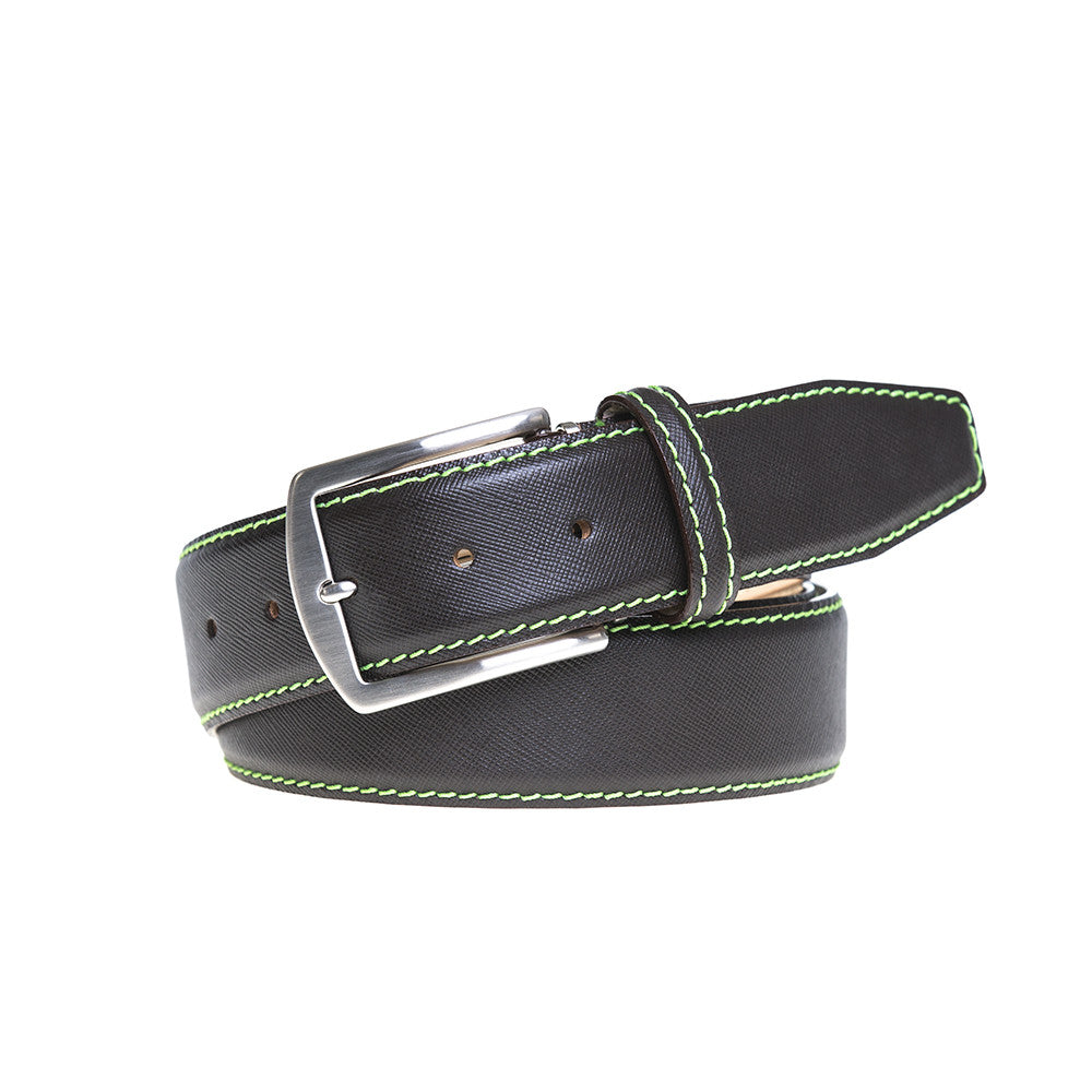 Brown Saffiano Belt - Lime Green / 44 / 35mm | Mens Fashion & Leather Goods by Roger Ximenez