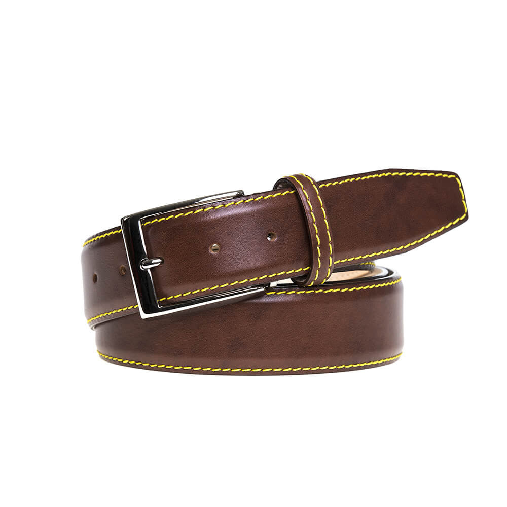 Special Edition Cognac Belt - Yellow / 44 / 40mm | Mens Fashion & Leather Goods by Roger Ximenez