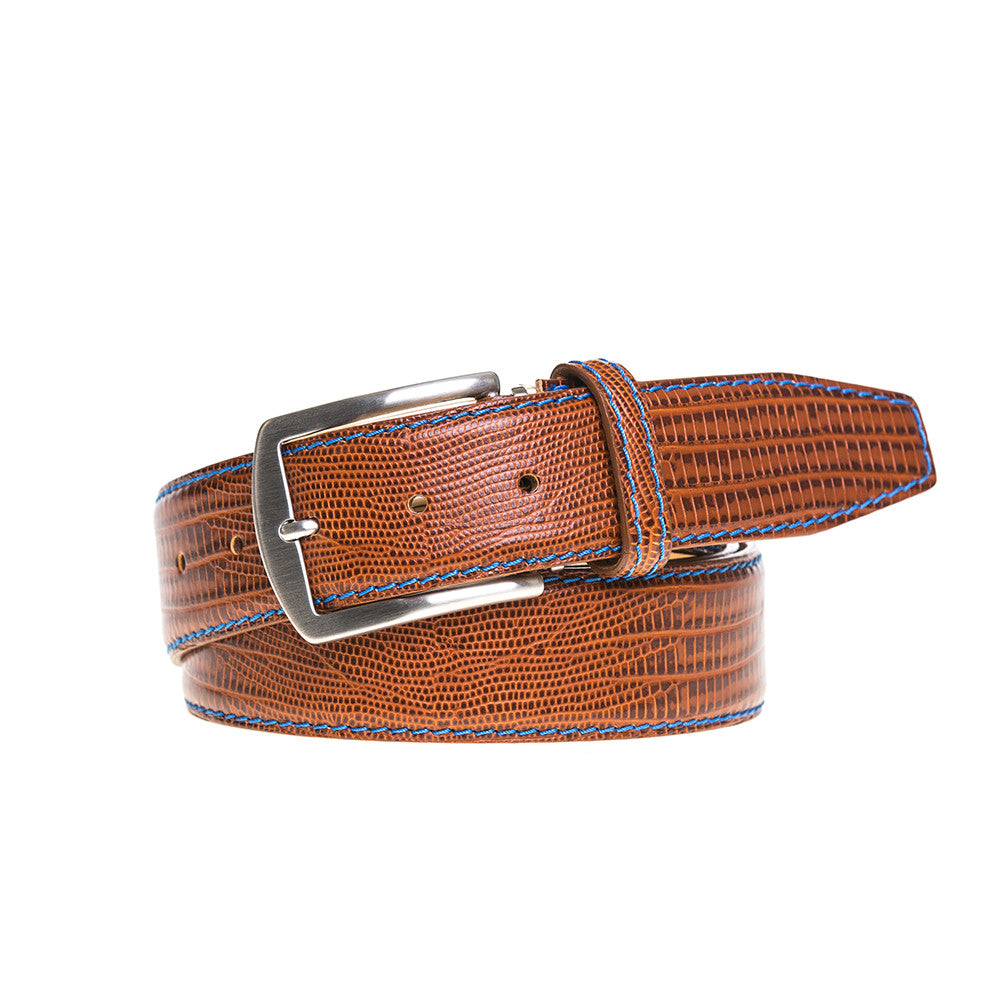 Cognac Mock Lizard Belt - Cobalt / 44 / 35mm | Mens Fashion & Leather Goods by Roger Ximenez