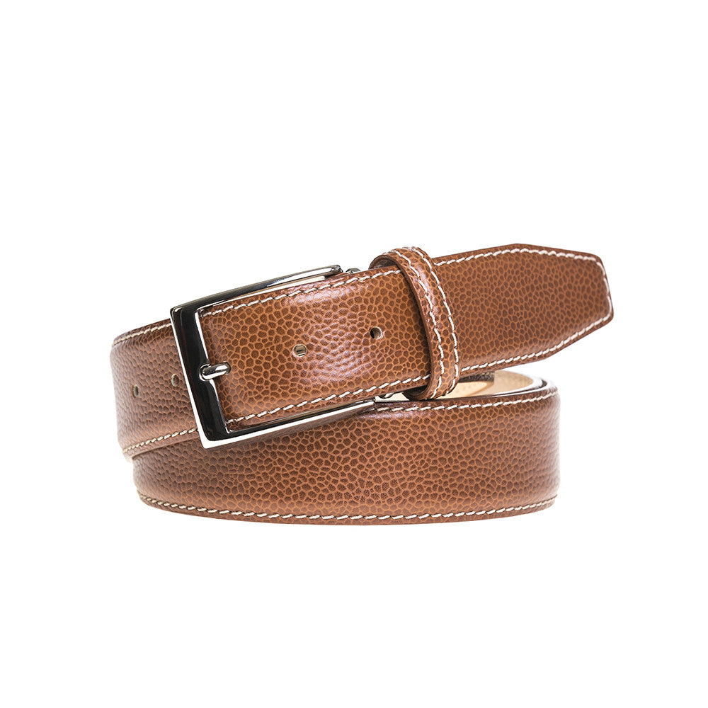 Cognac French Pebble Grain Belt - Ecru / 44 / 35mm | Mens Fashion & Leather Goods by Roger Ximenez