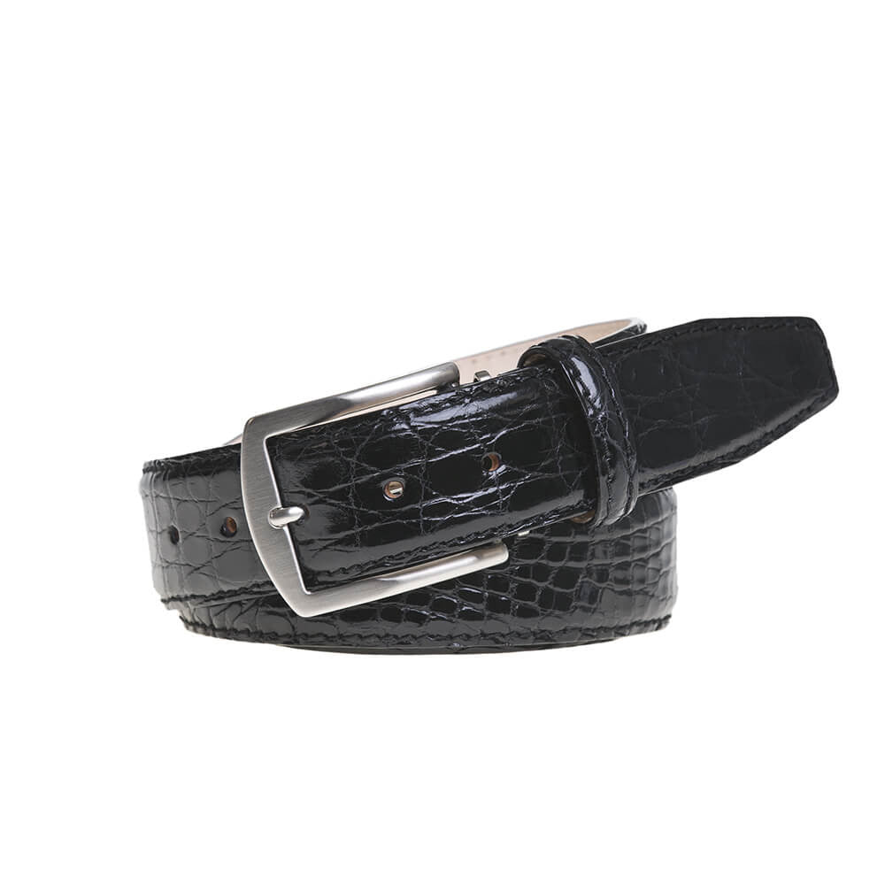 Black Crocodile Leather Belt - Men's Designer Belts - RogerXimenez.com