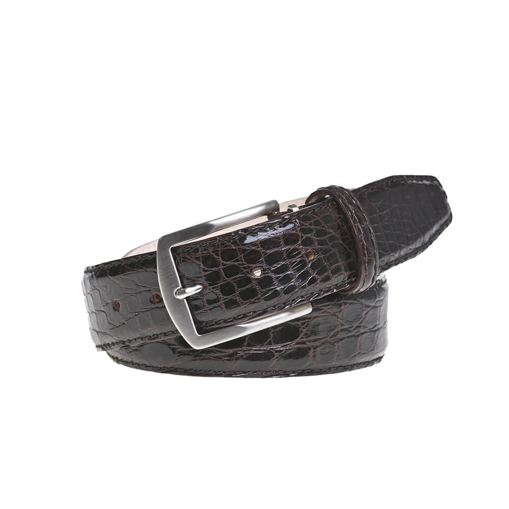 Brown Crocodile Leather Belt - Men's Designer Belts - RogerXimenez.com