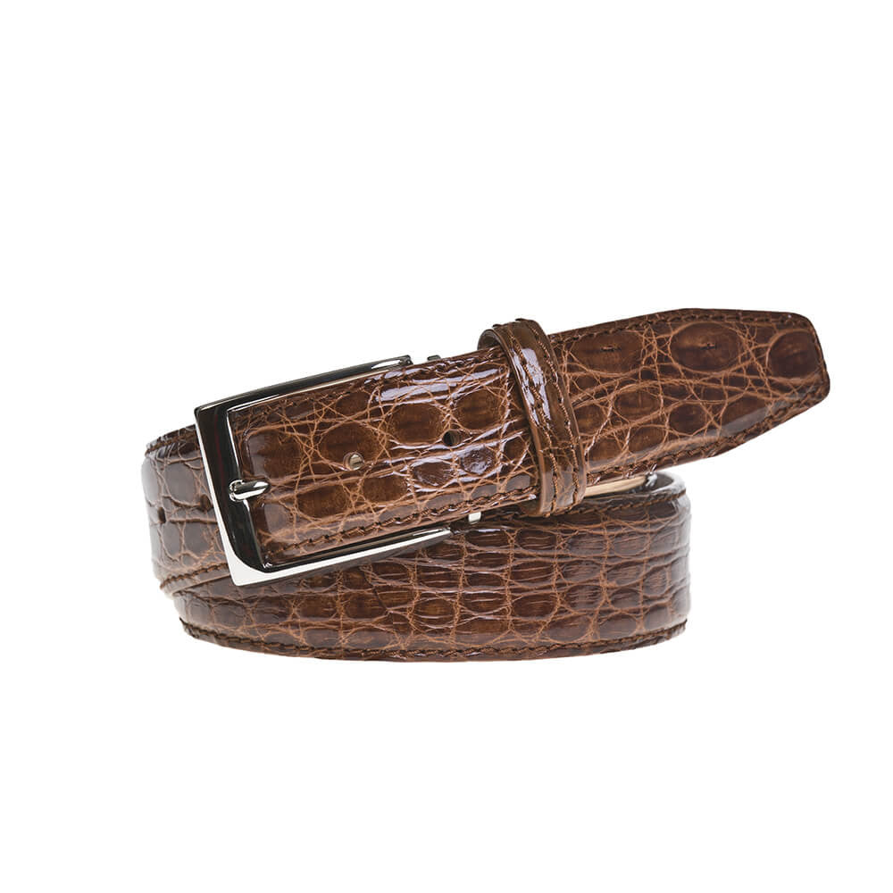 Cognac Crocodile Leather Belt - Men's Designer Belts - RogerXimenez.com