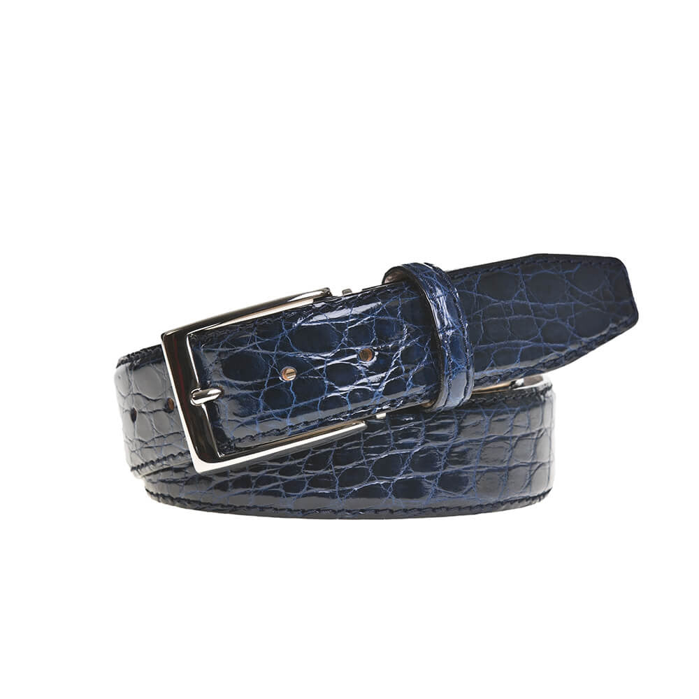 Navy Crocodile Leather Belt - 44 / 35mm / Navy | Mens Fashion & Leather Goods by Roger Ximenez